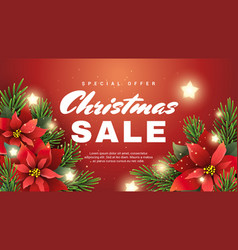 christmas sale banner with christmas star flower vector image vector image