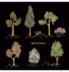 Collection of stylized trees vector image