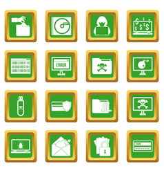 criminal activity icons set green vector image