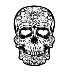 Hand drawn sugar skull isolated on white vector