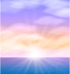 Sea sunset with bright sun light on lens EPS10 vector image vector image