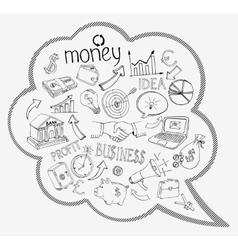 Speech bubble with business and money icons vector image vector image
