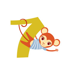 funny cute monkey animal and number seven vector image