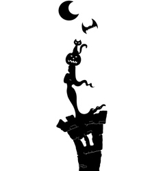 Halloween night black tower vector image vector image
