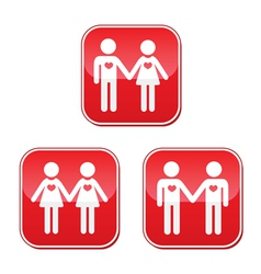 Hetero gay and lesbian love couples buttons set vector image vector image