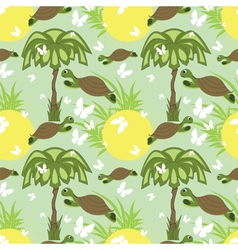seamless tortoise and palm vector image vector image