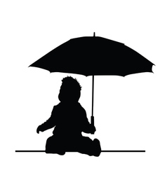 baby holding umbrella silhouette vector image vector image