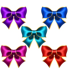 Holiday bows with gold border vector image vector image
