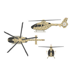 military helicopter on white background vector image