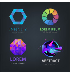 set of abstract logos isolated on dark vector image vector image