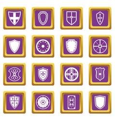 shield frames icons set purple vector image vector image