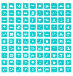 100 tree icons set grunge blue vector