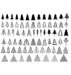 72 christmas trees set christmas trees vector