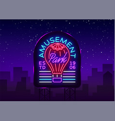 Amusement park logo in neon style design template vector