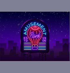 amusement park logo in neon style design template vector image