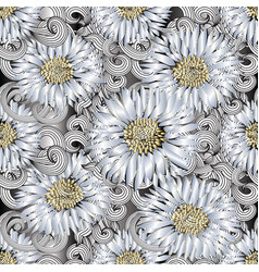 background seamless pattern of 3d flowers vector image