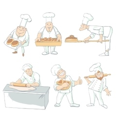 Baker Drawn Characters Isolated Set vector