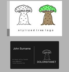 Baobab tree cartoon emblem vector