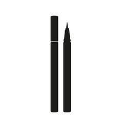 Black and white waterproof eyeliner pen silhouette vector