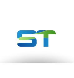 blue green st s t alphabet letter logo vector image
