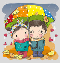 boy and girl with umbrella under the rain vector image