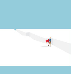 businessman in red cape standing at cliff vector image