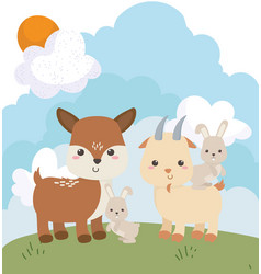 camping bunnies and deer cartoon vector image
