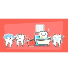 Cartoon teeth care and hygiene concept vector