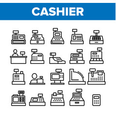 Cashier equipment collection icons set vector