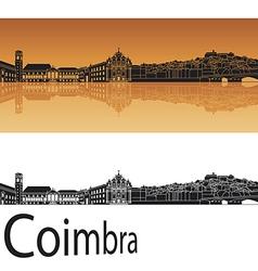 Coimbra skyline in orange background vector image