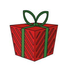 color image cartoon christmas giftbox with vector image