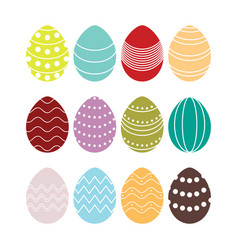 colored silhouettes easter eggs vector image