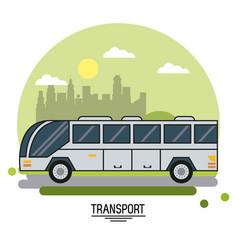 Colorful poster of transport with bus on vector