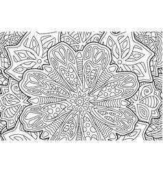 coloring book page with beautiful floral art vector image