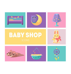 cute baby shop icons set goods for babies design vector image