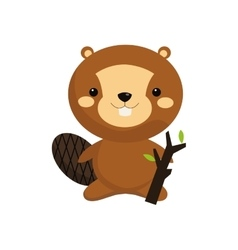 cute beaver cartoon icon vector image