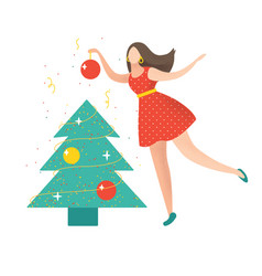 cute for christmas and happy new year vector image