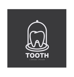 dental care logo template with tooth under bell vector image