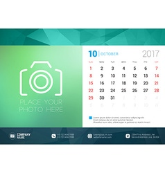 Desk Calendar Template for 2017 Year October vector
