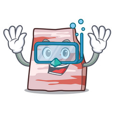 Diving pork lard character cartoon vector