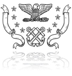 Doodle us military insignia navy vector