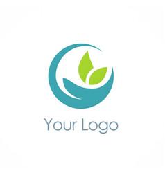 ecology green leaf logo vector image