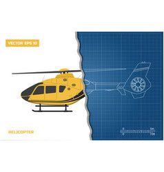 engineering blueprint of helicopter vector image