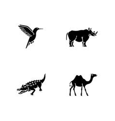 Exotic animals black glyph icons set on white vector