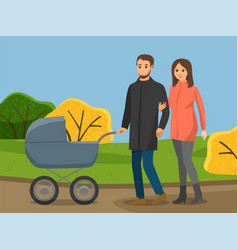 family walking in autumn park parents are vector image