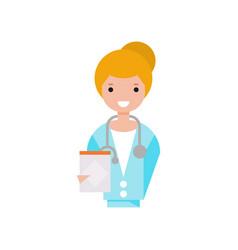 female doctor character girl in white coat vector image
