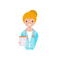 Female doctor character girl in white coat with vector