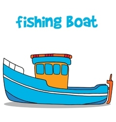Fishing boat cartoon art vector image vector image