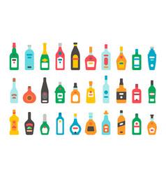 flat design alcohol bottles set vector image