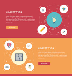 flat icons wings stand idea elements set vector image